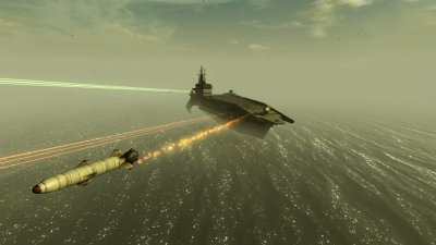 Laser and rocket weapons for the carrier deck guns