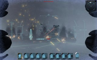 Attacking enemy carrier with all units and guns.